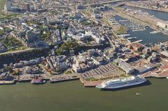 Вид с воздуха гостиницы Frontenac замка и старого порта в Ci Квебека Стоковое фото RF