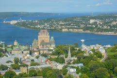 Вид с воздуха гостиницы Frontenac замка и старого порта Стоковое Изображение