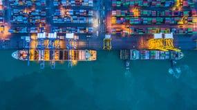 Вид с воздуха грузового корабля контейнера, грузового корабля контейнера в чертенке Стоковое Изображение RF