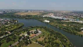 Вид с воздуха деревни от трутня Стоковые Изображения