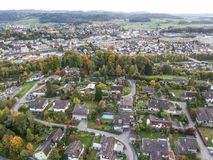 Вид с воздуха деревни Центральной Европы стоковая фотография rf