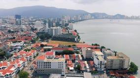 Вид с воздуха Джорджтауна Penang, Малайзии видеоматериал