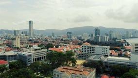 Вид с воздуха Джорджтауна Penang, Малайзии сток-видео