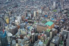 Вид с воздуха для метрополии токио Стоковые Фото