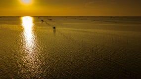 Вид с воздуха дома в twilight времени, Таиланда ` s рыболова Стоковое Изображение RF