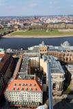 Вид с воздуха Дрездена, река Эльба и академия художеств стоковое изображение rf