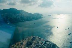 Вид с воздуха залива Гонконга Стоковая Фотография