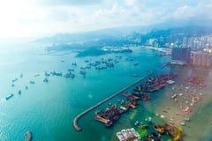 Вид с воздуха залива Гонконга Стоковые Изображения