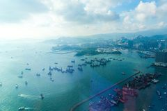 Вид с воздуха залива Гонконга Стоковая Фотография RF