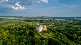 Вид с воздуха замка Olesky Очень красивый замок около Львова стоковое фото rf