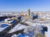Вид с воздуха здание муниципалитета Лоуэлл, Массачусетс, США стоковая фотография