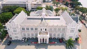 Вид с воздуха здание муниципалитета на ламе Jalan Padang Kota, Penang Малайзии видеоматериал