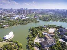 Вид с воздуха здания портового района города стоковая фотография rf