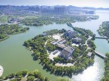 Вид с воздуха здания портового района города стоковые изображения