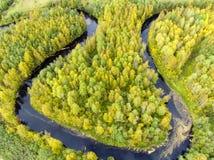 Вид с воздуха излучин реки в диком лесе стоковая фотография rf