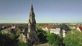 Вид с воздуха исторических зданий в Лейпциге включая церковь Michaeliskirche Zentrum-Nord, Германии Стоковые Фото