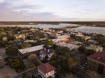 Вид с воздуха исторического района Beaufort, Южной Каролины на стоковая фотография