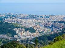 Вид с воздуха Ист-Сайд и сверх города Генуи Genova, Италии Стоковая Фотография