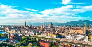 Вид с воздуха Италия горизонта города Флоренса Стоковое фото RF