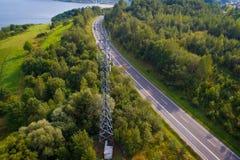 Вид с воздуха клетчатого реле сети Стоковая Фотография