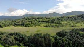 Вид с воздуха красивого озера в Болгарии сток-видео