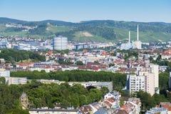 вид с воздуха к городу Штутгарта Стоковое Изображение