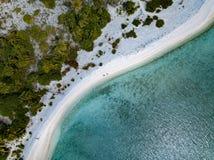 Вид с воздуха лагуны песчаного пляжа Острова Кука полинезии Стоковые Изображения