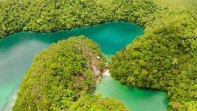 Вид с воздуха лагуны Sugba, Siargao, Филиппин сток-видео