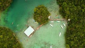 Вид с воздуха лагуны Sugba, Siargao, Филиппин видеоматериал