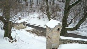 Вид с воздуха ландшафта зимы сток-видео