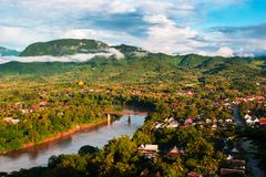 Вид с воздуха ландшафта Luang Prabang Стоковые Фото