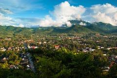 Вид с воздуха ландшафта Luang Prabang Стоковые Фотографии RF