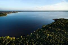 Вид с воздуха литовской сельской местности на весне Стоковое Изображение