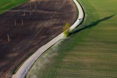 Вид с воздуха литовской сельской местности на весне Стоковая Фотография RF