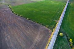 Вид с воздуха литовской сельской местности на весне Стоковые Изображения RF