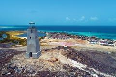 Вид с воздуха маяка в карибском пляже стоковое фото rf