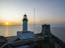 Вид с воздуха маяка и башни на острове Giraglia Полуостров Corse крышки Корсика Франция стоковые изображения rf