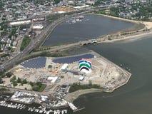 Вид с воздуха межгосударственные 93 и Swash радуги, Бостон, МАМЫ стоковая фотография