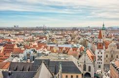 Вид с воздуха над городом Мюнхена стоковая фотография