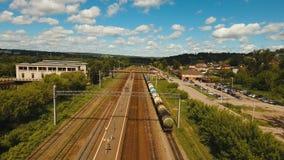 Вид с воздуха над железной дорогой