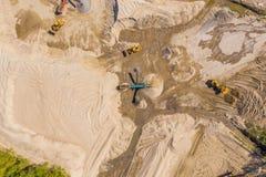 Вид с воздуха над минным полем monohydrallite Шахта песка r стоковое изображение