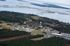 Вид с воздуха наружных банков стоковое фото rf