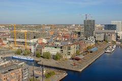 Вид с воздуха на доках и dsurroundings порта Антверпена стоковые фотографии rf
