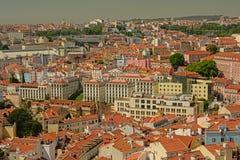 Вид с воздуха на домах Лиссабона стоковое фото