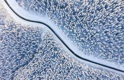 Вид с воздуха на дороге и лесе на зимнем времени r r стоковые изображения