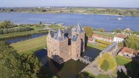 Вид с воздуха на замке Loevestein стоковое изображение