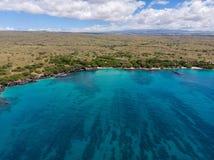 Вид с воздуха на пляже Waialea, большом острове, Гаваи стоковые фотографии rf