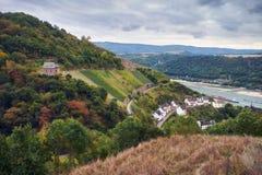 Вид с воздуха на реке Raine от места наблюдения на туристском маршруте на холмах государства Hessen в Германии стоковые изображения rf