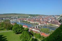 Вид с воздуха на Wuerzburg с стоковое изображение