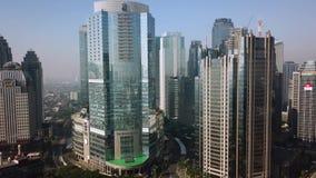 Вид с воздуха небоскребов в районе Semanggi финансовом видеоматериал